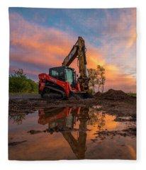 Construction Sunset Fleece Blanket