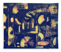 Fleece Blanket featuring the painting Contraption by 'REA' Gallery