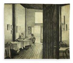 Conversation In An Old Cafe Fleece Blanket