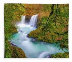Cool Mountain Water Flows Outward To The Sea Fleece Blanket