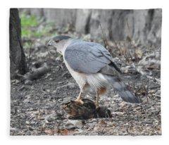 Cooper's Hawk With Woodcock Fleece Blanket