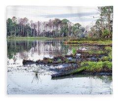 Coosaw - Early Morning Rice Field Fleece Blanket