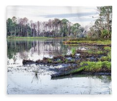 Coosaw - Early Morning Rice Field Fleece Blanket