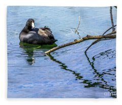 Coot With Branches Fleece Blanket