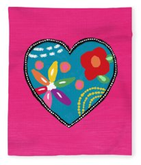 Corazon 2- Art By Linda Woods Fleece Blanket