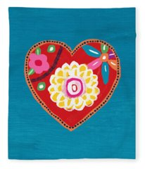 Corazon 3- Art By Linda Woods Fleece Blanket