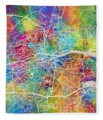 Cork Ireland City Map Fleece Blanket
