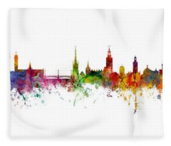 Cork, Stockholm And Gothenburg Skyline Mashup Fleece Blanket