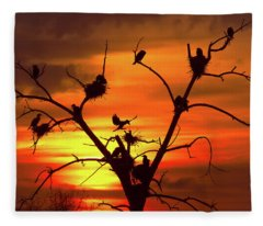 Cormorant Nest Building Time Fleece Blanket