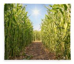 Corn Maze Fleece Blanket