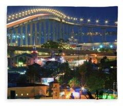 Coronado Bay Bridge Shines Brightly As An Iconic San Diego Landmark Fleece Blanket