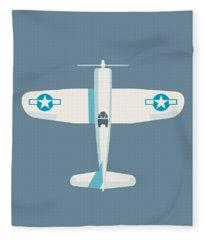 Corsair Fighter Aircraft - Slate Fleece Blanket