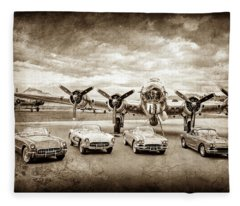 Corvettes And B17 Bomber -0027cl2 Fleece Blanket