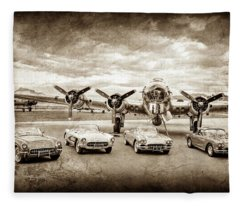 Corvettes And B17 Bomber -0027s Fleece Blanket