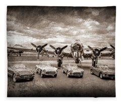 Corvettes And B17 Bomber -0027s45 Fleece Blanket