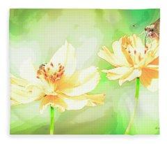 Cosmos Flowers, Bud, Butterfly, Digital Painting Fleece Blanket