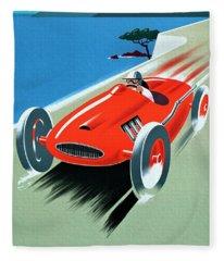 Cote D Azur, French Rivera Vintage Racing Poster Fleece Blanket