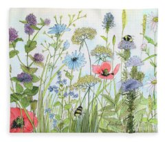 Cottage Flowers And Bees Fleece Blanket