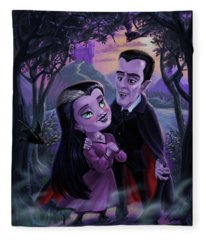 Count And Countess Dracula During Halloween Evening Fleece Blanket