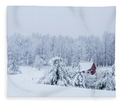 County Winter Scene  Fleece Blanket