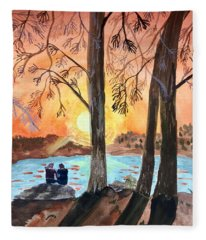 Couple Under Tree Fleece Blanket