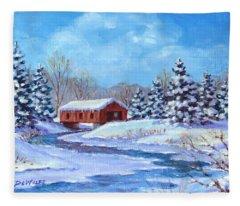 Covered Bridge Sketch Fleece Blanket