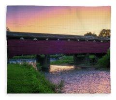Covered Bridge Sunset Fleece Blanket