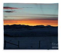 Cowboy Trail Sunset Fleece Blanket