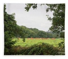 Cows In The Pasture Fleece Blanket