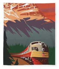 Cp Travel By Train Fleece Blanket