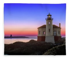 Crab Boat At The Bandon Lighthouse Fleece Blanket