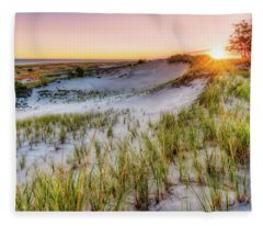 Crane Beach, Dune Grass Sunrise  Fleece Blanket