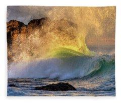 Crashing Wave Leo Carrillo Beach Fleece Blanket