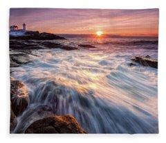 Crashing Waves At Sunrise, Nubble Light.  Fleece Blanket