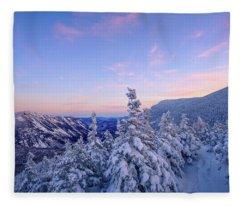 Crawford Notch Winter View. Fleece Blanket