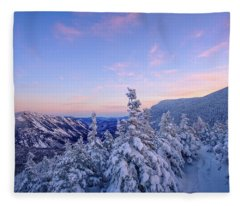 Crawford Notch Winter View. Fleece Blanket