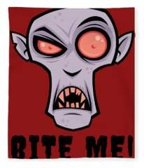 Creepy Vampire Cartoon With Bite Me Text Fleece Blanket