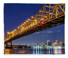 The Crescent City Bridge, New Orleans  Fleece Blanket