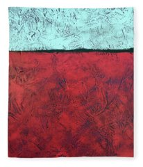 Crimson Earth Meets Pearl Sky Fleece Blanket