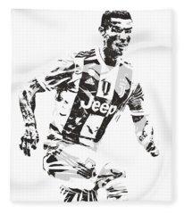 Cristiano Ronaldo Juventus Pixel Art 3 Fleece Blanket