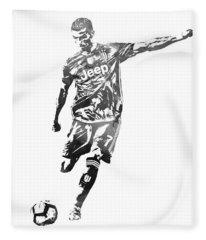 Cristiano Ronaldo Juventus Water Color Pixel Art 2 Fleece Blanket