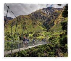 Crossing The River In New Zealand Fleece Blanket