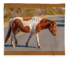 Crossing The Road At Assateague Fleece Blanket