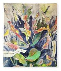 Croton Plant Fleece Blanket