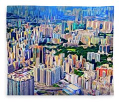Crowded Hong Kong Abstract Fleece Blanket