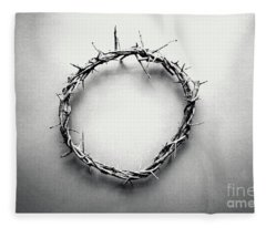 Crown Of Thorns In Black And White  Fleece Blanket