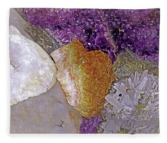 Fleece Blanket featuring the mixed media Crystal Stand 14  by Lynda Lehmann