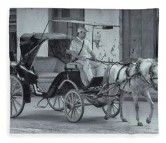 Cuban Horse Taxi Fleece Blanket