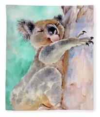 Cuddly Koala Watercolor Painting Fleece Blanket