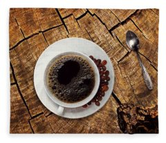 Cup Of Coffe On Wood Fleece Blanket